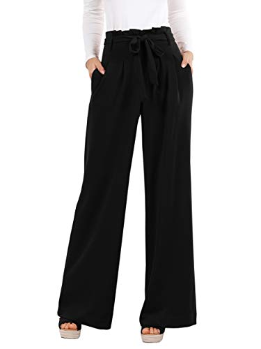 Geckatte Womens Palazzo Wide Leg Pants High Waist Casual Loose Flowy Pants with Belt