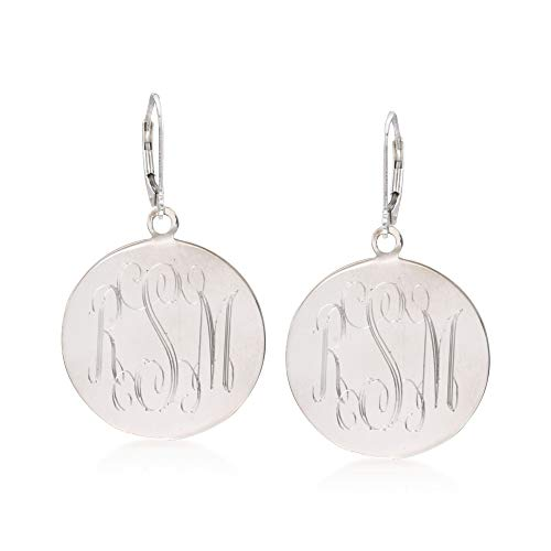 (Ross-Simons Italian Sterling Silver Monogram Disc Drop Earrings)