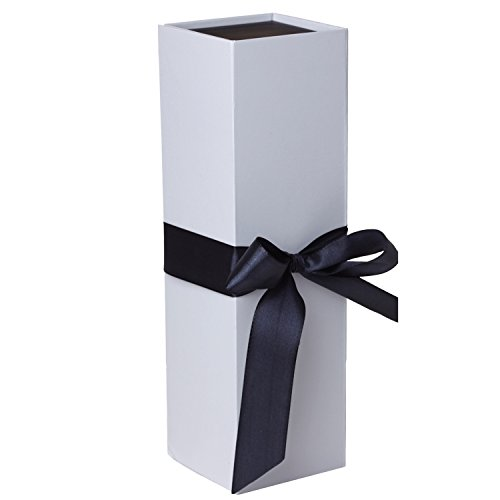 Jillson Roberts 24-Count Wine & Bottle Gift Boxes Available in 3 Colors, White Matte with Black Ribbon by Jillson Roberts