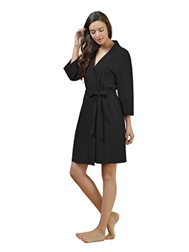SIORO Women's Kimono Robe Cotton Soft Lightweight Robes Short Knit Bathrobe Loungewear V-Neck Sexy Sleepwear Ladies Nightshirts, Black, L Cotton Kimono Robe