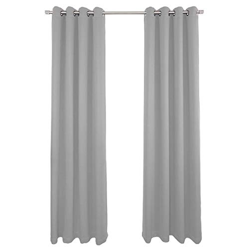 NIM Textile Grommet Curtains, Thermal Insulated Blackout Drapes, Sofiter Collection 140 W x 84 L, 2 Panels Set, Light Grey