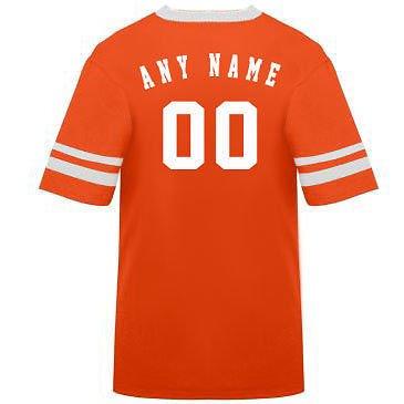 カスタマイズ名前/ Number On Back )ポリ/コットンアスレチックスポーツストライプスリーブジャージー/シャツサッカー、フットボール、カジュアル、学校。。。。21色、子供/大人サイズ8。 B00FL4R7OW Youth Medium|Orange/White Sleeves Orange/White Sleeves Youth Medium