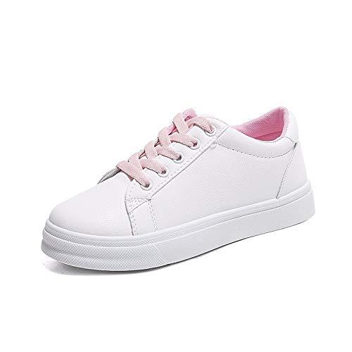 ZHZNVX Zapatos de Mujer PU (Poliuretano) Spring & Summer Comfort Sneakers Flat Heel Round Toe Blanco/Azul / Rosa Pink