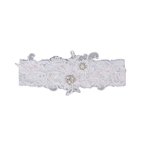 Colorido Wedding Sexy Lace Garter Faux Pearl Rhinestone Floral Leg Garter Thigh Ring Belt for Bridal White