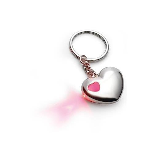Heart Shaped Metal Key Chain Ring With Red Led Light In Polybag & Black Gift Box