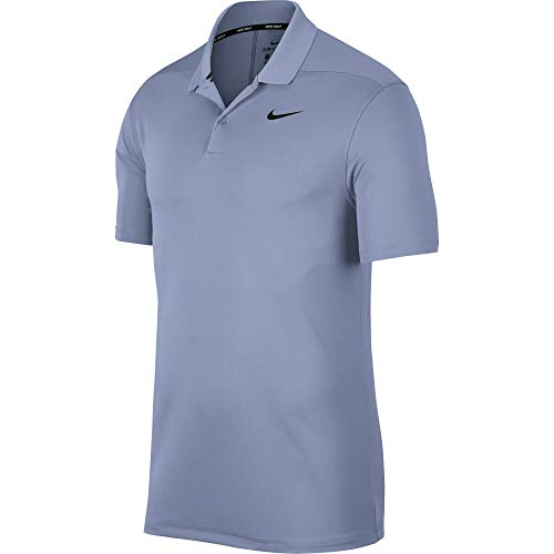 Indigo Mens Shirt - Nike Men's Dry Victory Polo Solid Left Chest, Indigo Fog/Black, Medium