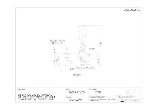 DE-STA-CO 202-ul vertical palanca de retenci/ón horizontal Toggle Clamp Con Un LargoU bar