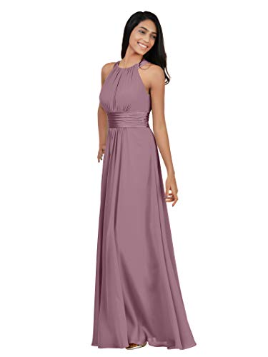 Alicepub Chiffon Bridesmaid Dresses Long for Women Formal Evening Party Prom Gown Halter, Mauve Mist, Custom - Mist Gray Finish