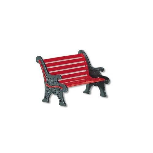 Department 56 Village Red Wrought Iron Park Bench (Snow Village 56 Accessory)