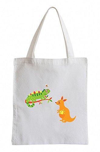 Iguana Raxxpurl e canguro Fun sacchetto di iuta