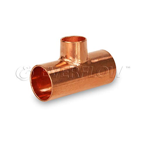 Everflow Supplies CCRT1518 C X C X C Reducing Tee Fitting with Solder Cups for Copper Pipe, 1-1/2