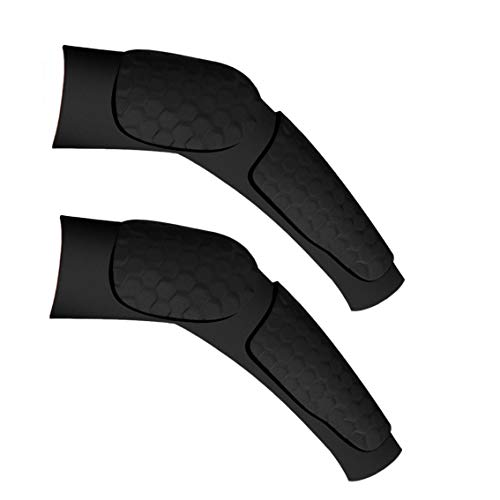 Zoom Time Double Honeycomb Arm Shooting Sleeve Reachs Elbow Brace Support Elbow Sleeve for Sport Protective Gear for Basketball Football Skateboard Cycling Parkour Outdoor Sports (1Pair L, Black) ()