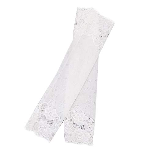 lipiny Floral Lace UV Sun Protection Cooling Arm Sleeves Long Half Finger Gloves, for Driving Vacation Outdoor Scar Tattoos Cover for Women Girls