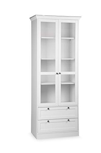 Intertrade 001738 Landhaus Vitrine Ina 51, 80 x 200 x 45 cm, dekor weiß