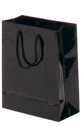 Eurotote Bag (Case of 100, Gift Wrap, Gift Bags, Small Black Glossy Euro Tote Bag, 8