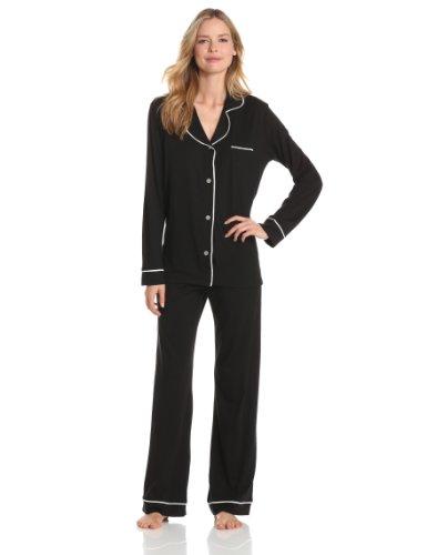 (Cosabella Women's Amore Pajama Set, Black/Ivory, Large)