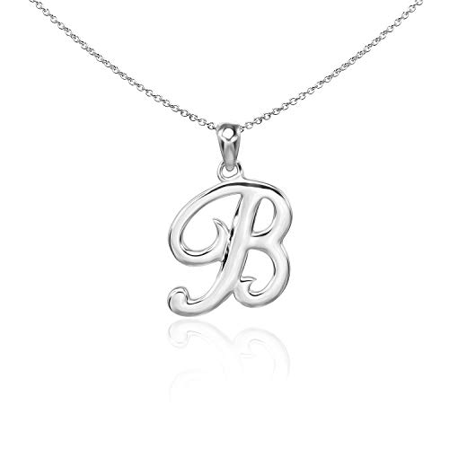 (Sea of Ice Sterling Silver Initial Alphabet Letters B Pendant Necklace, 18 inch)