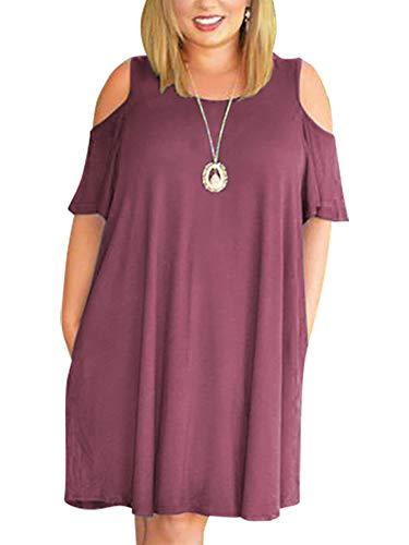 (Nemidor Women's Cold Shoulder Plus Size Casual T-Shirt Swing Dress with Pockets (18W, Purple))
