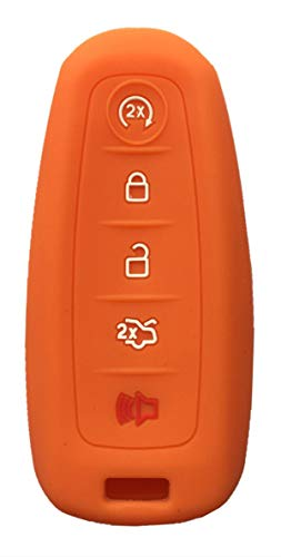 KAWIHEN Silicone Key Fob Cover Protector Smart Remote Control Keyless Entry Key Fob Case Holder Cover For Ford C-Max Edge Escape Expedition Explorer Flex Focus Taurus M3N5WY8609 (Orange)