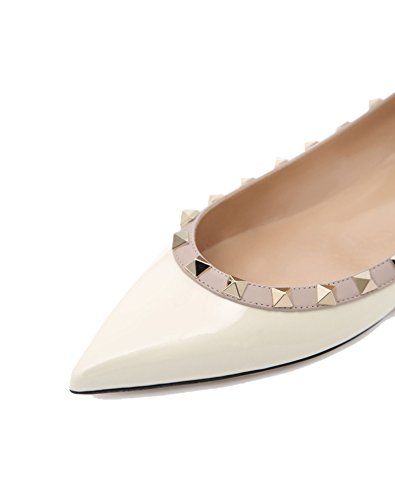Studded Pan Casual Heels White Slip Toe Caitlin Gladiator Flat Women On Flats Rivets Pointed T84Cq