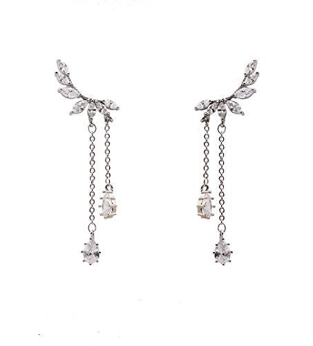 Orris Diamond Angel Wings Tassel Sterling Silver Plated Cute Dangle Drop Earrings&Stud For Women Girls