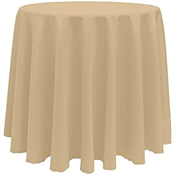 Ultimate Textile 90 Inch Round Polyester Linen Tablecloth Camel Light Brown