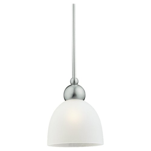 Metropolis One Light - Sea Gull Lighting 61035-962 Metropolis One-Light Mini Pendant, Brushed Nickel Finish with Satin Etched Glass