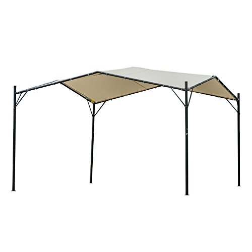 Outsunny 10' x 10' Outdoor Garden Steel Butterfly Sun Shade Gazebo Canopy Cover - Beige