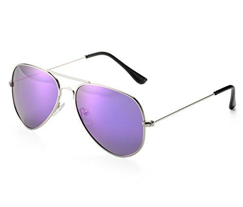 QORENY Handcrafted Designer Polarized Aviator Sunglasses For Men & Women (Purple, As - Mini Sunglasses Aviator