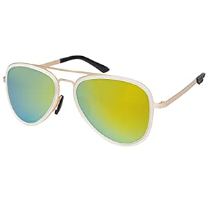 Aoron Premium Aviator Polarized Sunglasses Flat Metal Frame Lightweight A270