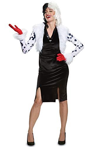 Disguise Women's Cruella De Vil Deluxe Adult Costume, White, M (8-10)