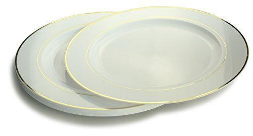 OCCASIONS 120 PACK, Extra Heavyweight Disposable Wedding Party Plastic Plates/Chargers/Serving Tray (12'' Plates, White/Light Gold Rim)