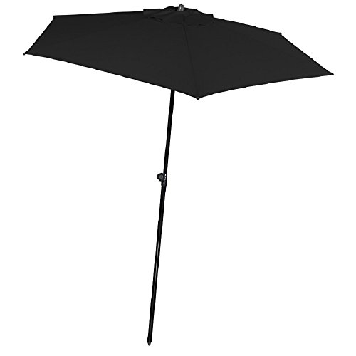 7 1/2' Black Patio Tropical Europeon Style Market Umbrella With Tilt by TROPICAL