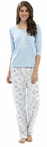 Señoras Foxbury Animal e impresión brillante invierno largo pijama pijamas de pijama azul claro