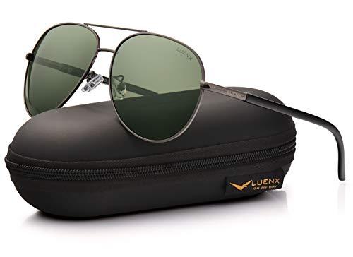 LUENX Men Women Aviator Sunglasses Grey Green Polarized Lens Gun Metal Frame Non-Mirror 60MM with Accessories