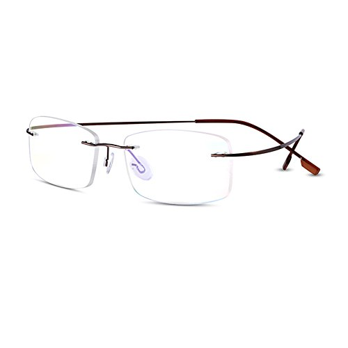 Alloy Frame Eyeglass (Bertha Titanium Alloy Flexible Lightweight Rimless Frame Prescription Eyeglasses 105 (Coffee))