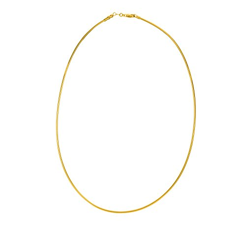 """14K 18"""" Yellow Gold 1.5mm Polish Diamond Cut Round Omega Necklace With Screw Off Lock And Pear Shape Clasp"""