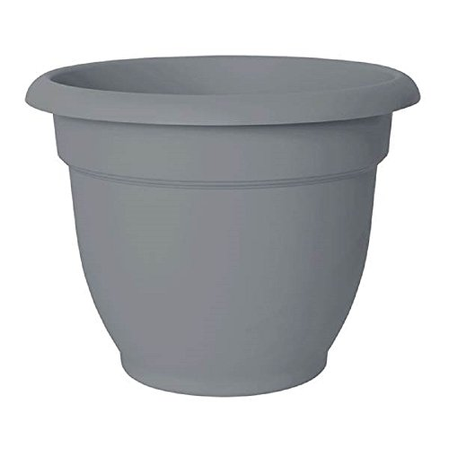 Peppers Planter - Bloem Ariana Resin Planter With Self Watering Disk, Gray Peppercorn - SET OF 2 (8