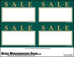 YZC701 Price Sign Laser Cards Sale Green Gold PC Printable 3 Sizes Available 100 8