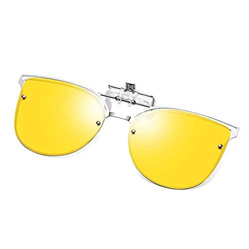 Polarized Clip-on Sunglasses Anti-Glare UV 400 Protection Aviator/Cateye Sun Glasses Clip On Prescription Glasses (Cateye-Yellow/Night ()