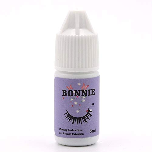 Eyelash Extension Glue for both Self and Professional Applications|Tasteless Non-Stimulating | 3-5 Sec Drying Time | Retention 30-40 Days | Sensitive Black Eyelash Glue by Bonnie, 5ml (Best Eyelash Extension Glue For Sensitive Eyes)