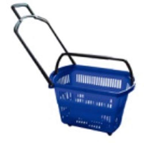 Set of 3 BLUE Grocery Shopping Carts – Retail Grocery Baskets w/ Swivel Wheels, Pull-along handle + Fold-up Handles for Easy Lifting. Heavy-duty ABS Plastic – 24''x15.7''x15.7''