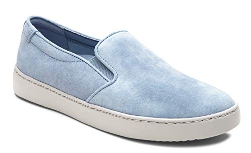 Vioinc Women's Pro Mahoney Avery Slip-on - Ladies Water Resistant Slip Resistant Service Shoes with Concealed Orthotic Arch Support Light Blue Suede 9 W US