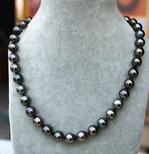 Fashion Women's Genuine 9-10mm Tahitian Black Natural Pearl Necklace 18' AAA