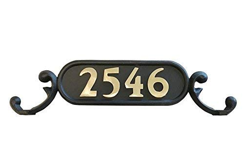 Decorative Mailbox Address Number Plate | GSi Williamsburg Mailbox Address Plate, Style 1 (Charleston) | Decorative Mailbox Plate | Aluminum cast Flat Black with Hardware | Numbers Sold Separately