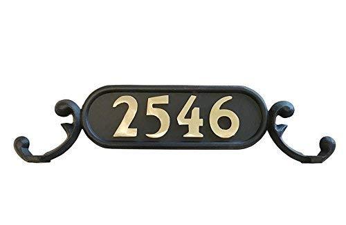 Plaque Mailbox (Decorative Mailbox Address Number Plate | GSi Williamsburg Mailbox Address Plate, Style 1 (Charleston) | Decorative Mailbox Plate | Aluminum cast Flat Black with Hardware | Numbers Sold Separately)