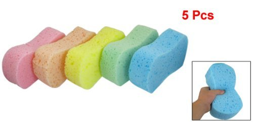 VNDEFUL Car Wash Sponge Cleaning Scrubber 5 Pcs Assorted Color 8 Shape Cleaning Wash Sponge Pad for Auto Cars