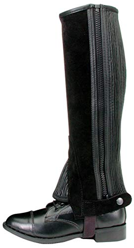 Tough 1 Suede Leather Half Chaps, Black, Large (Renewed)