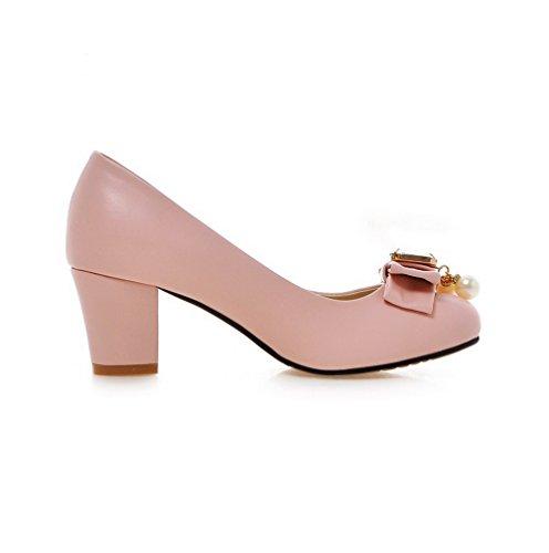 AllhqFashion Damen Rund Zehe Ziehen auf PU Leder Eingelegt Mittler Absatz Pumps Schuhe Pink