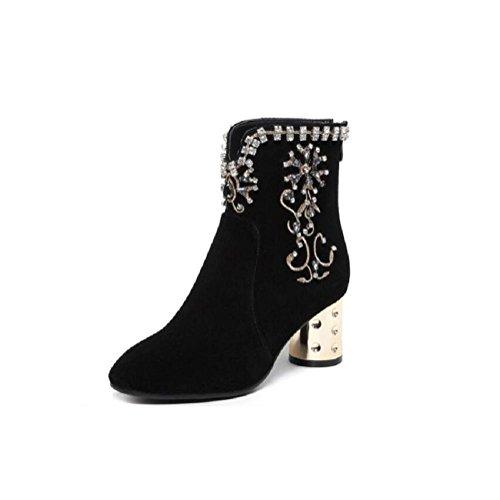 Fatto a mano diamante grosso tacchi Martin stivali tacco alto alla caviglia stivali scarpe donna , 36